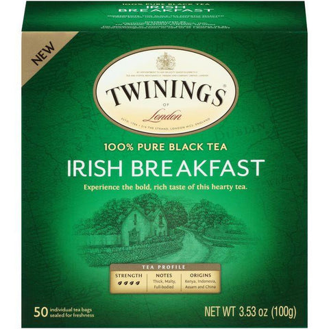 Twinings of London Irish Breakfast 100% Pure Black Tea 3.53 Oz (Pack of 6)