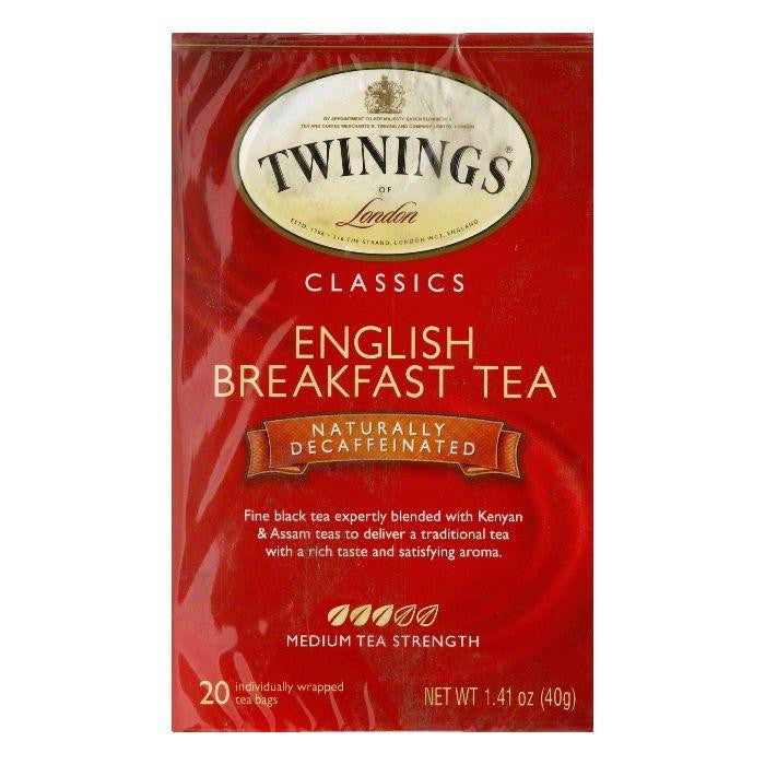 Twinings English Breakfast Decaffeinated Tea, 20 BG (Pack of 6)