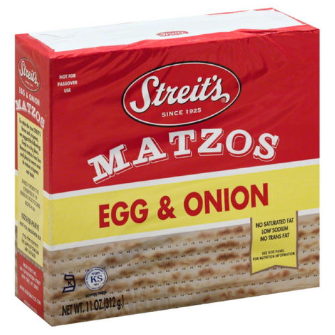 Streits Egg & Onion Matzos, 11 Oz (Pack of 12)