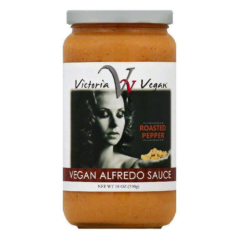Victoria Vegan Roasted Pepper Vegan Alfredo Sauce, 18 OZ (Pack of 6)
