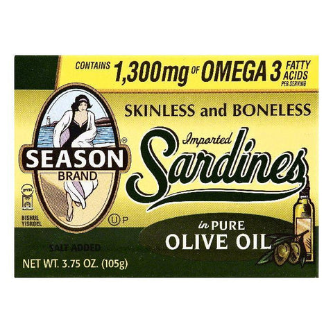 Season in Pure Olive Oil Skinless and Boneless Sardines, 3.75 OZ (Pack of 25)