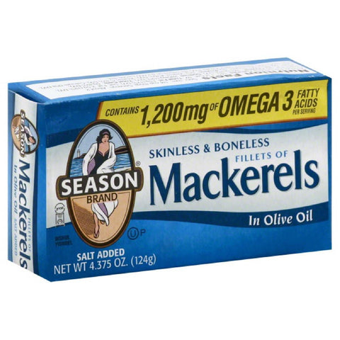 Season Fillets Mackerels in Olive Oil, 4.375 Oz (Pack of 12)