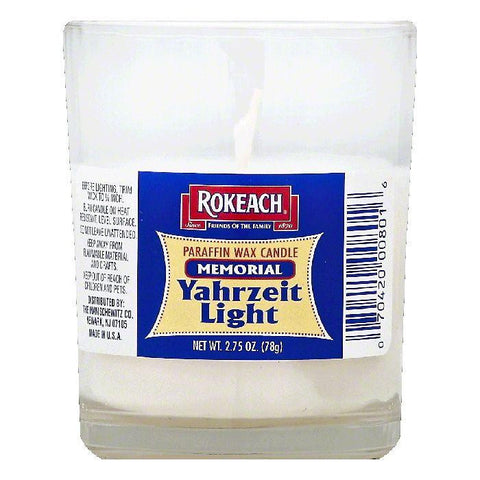 Rokeach Memorial Yahrzeit Light Paraffin Wax Candle, 1 ea (Pack of 24)
