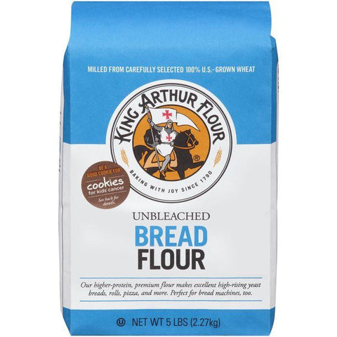King Arthur Flour Bread Unbleached Flour 5 lb. Bag (Pack of 8)