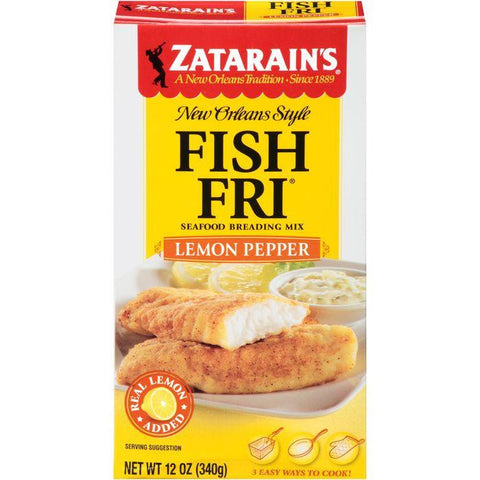 Zatarain's Fish-Fri Lemon Pepper Seafood Breading Mix 12 Oz (Pack of 8)