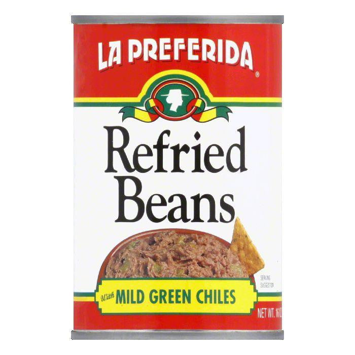 La Preferida Refried Beans Green Chiles, 16 OZ (Pack of 12)