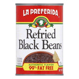 La Preferida Refried Black Beans Fat Free, 16 OZ (Pack of 12)