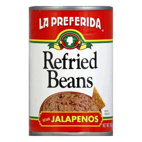 La Preferida Refried Beans Jalapenos, 16 OZ (Pack of 12)
