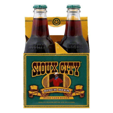 Sioux City Birch Beer Soda 4 pack, 48 FO (Pack of 6)