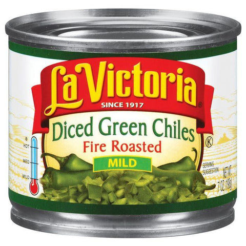 La Victoria Mild Diced Green Fire Roasted Chiles 7 Oz (Pack of 24)