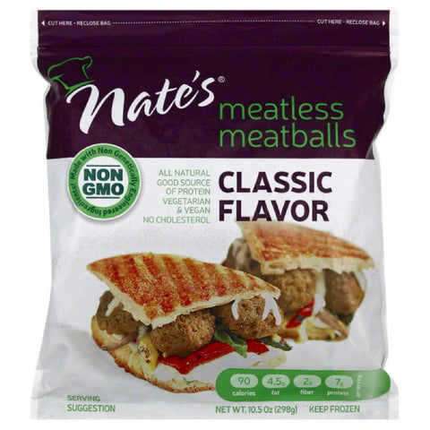 Nates Classic Flavor Meatless Meatballs, 10.5 Oz (Pack of 12)