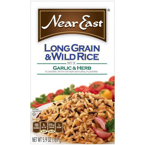 Near East Garlic & Herb Long Grain & Wild Rice Mix 5.9 Oz (Pack of 12)