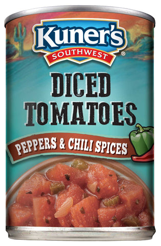 Kuner's Southwest Diced Tomatoes w/Chili Spices, 14.5oz (Pack of 12)