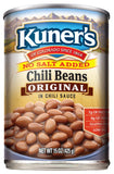 Kuner's Chili Beans No Salt Added, 15oz (Pack of 12)