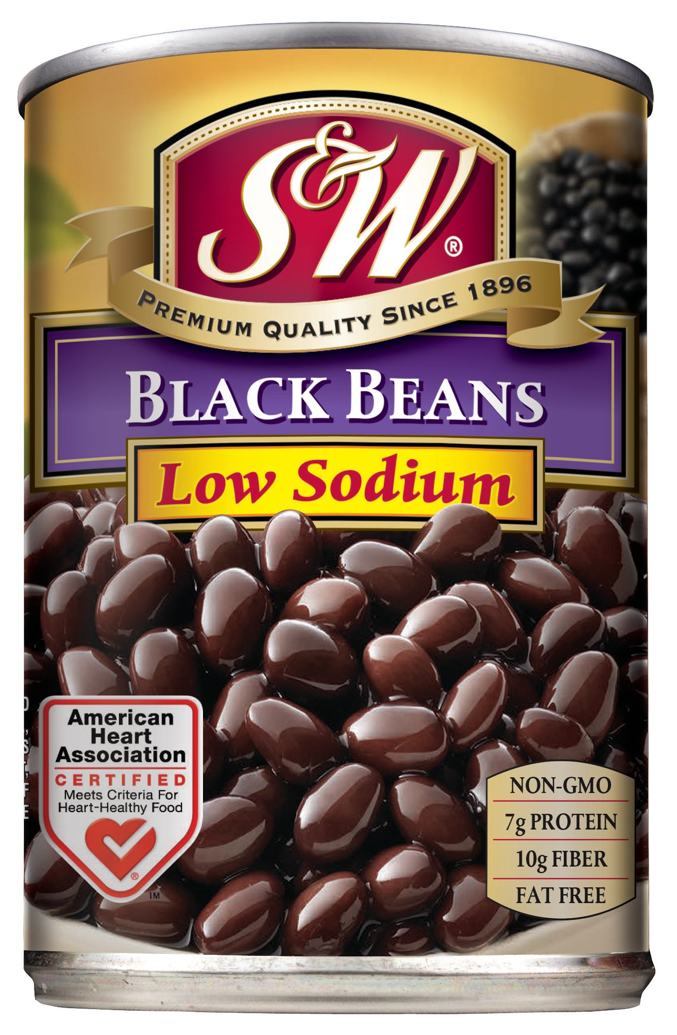 S&W Black Beans Low Sodium, , 15.0 Oz (Pack of 12)