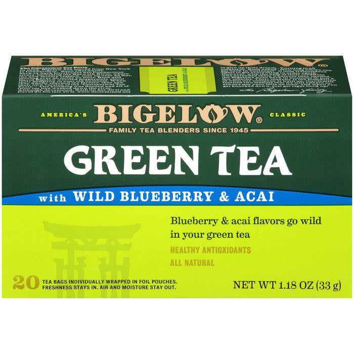 Bigelow Green Tea with Wild Blueberry & Acai 1.18 Oz (Pack of 6)