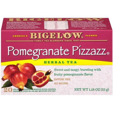 Bigelow Pomegranate Pizzazz Herbal Tea Bags 1.18 Oz (Pack of 6)