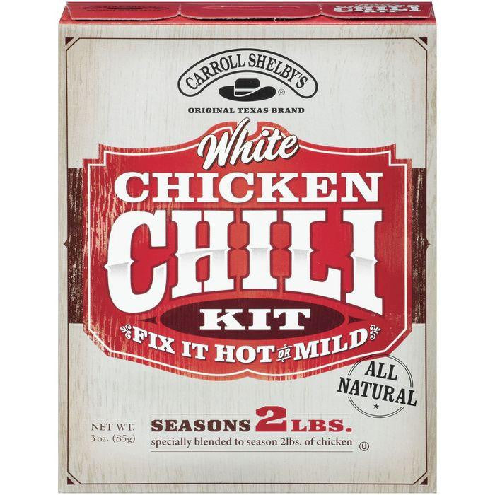 Carroll Shelby's White Chicken Fix It Hot Or Mild Chili Kit 3 Oz (Pack of 8)