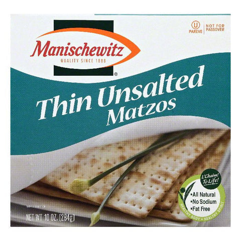 Manischewitz Unsalted Thin Matzos, 10 OZ (Pack of 12)
