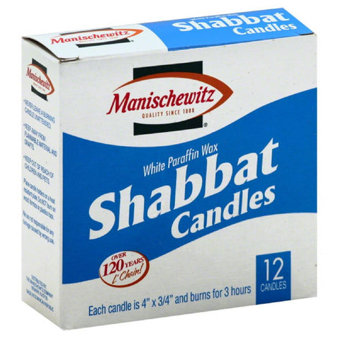 Manischewitz White Paraffin Wax Shabbat Candles, 12 Pc (Pack of 24)