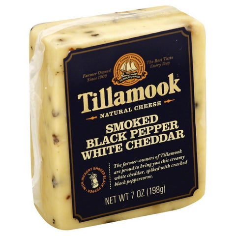 Tillamook Smoked Black Pepper White Cheddar Natural Cheese, 7 Oz (Pack of 12)