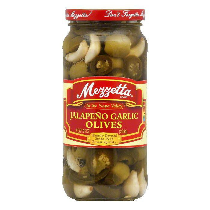 Mezzetta Olives Jalapeno n Garlic, 9.5 OZ (Pack of 6)