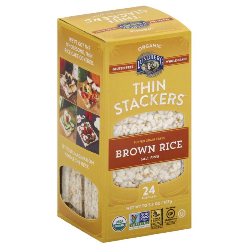 Lundberg Salt-Free Brown Rice Thin Stackers Rice Cakes, 5.9 Oz (Pack of 12)