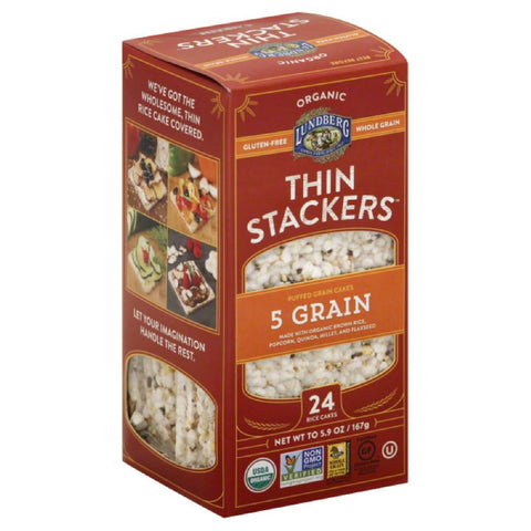 Lundberg 5 Grain Thin Stackers Rice Cakes, 5.9 Oz (Pack of 12)
