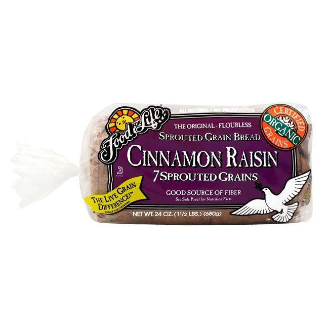 Food For Life Organic 7-Sprouted Whole Grain Cinnamon Raisin Bread, 24 Oz (Pack of 6)