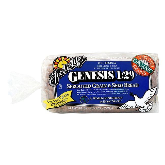Food For Life Organic Genesis 1:29 Sprouted Whole Grain Bread, 24 Oz (Pack of 6)