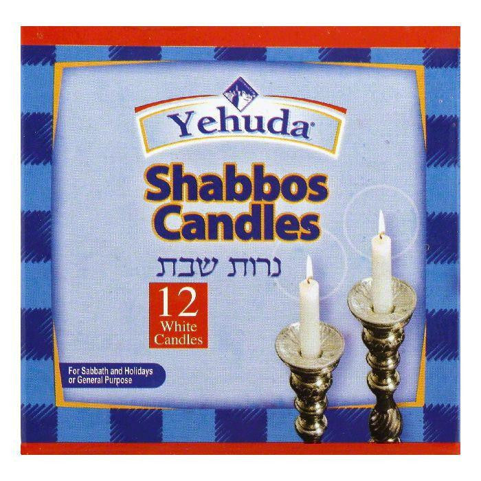 Yehuda White Shabbos Candles, 12 ea (Pack of 24)