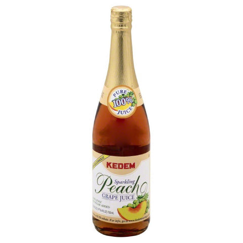 Kedem Peach Grape Juice Sparkling 100% Juice, 25.4 Fo (Pack of 12)