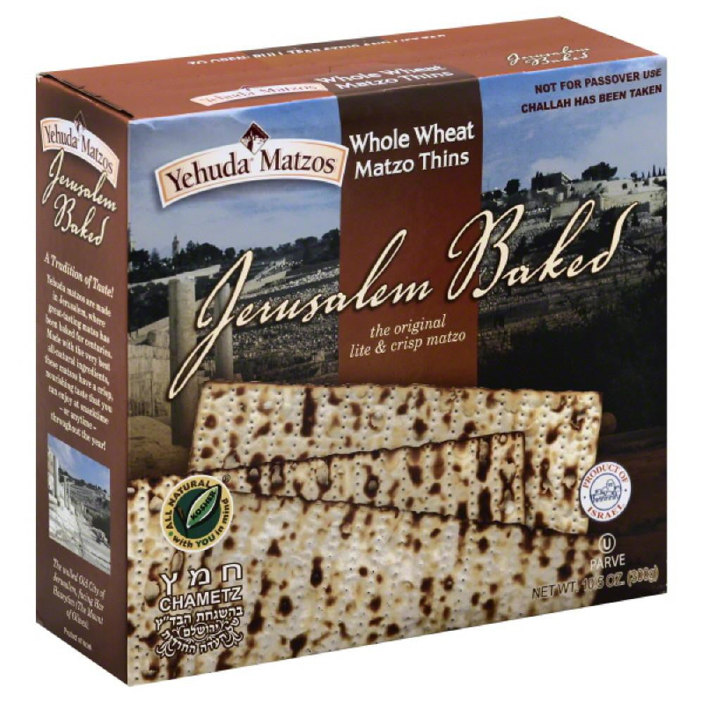 Yehuda Matzos Matzo Thins Whole Wheat, 10.5 Oz (Pack of 6)