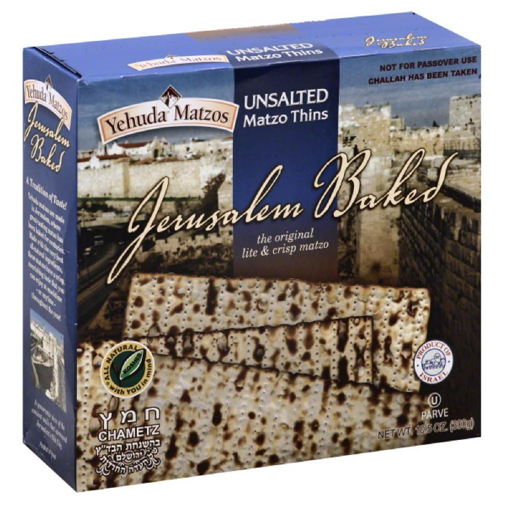 Yehuda Matzos Unsalted Matzo Thins, 10.5 Oz (Pack of 6)