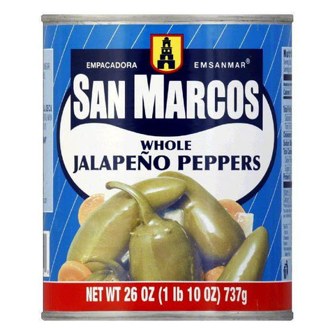 San Marcos Whole Jalapeno Tin, 26 OZ (Pack of 12)