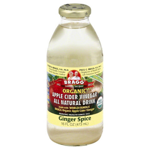 Bragg Ginger Spice Organic Apple Cider Vinegar Drink, 16 Oz (Pack of 12)