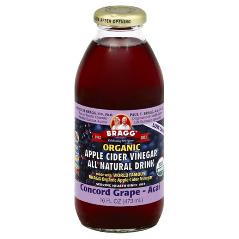 Bragg Concord Grape-Acai Organic Apple Cider Vinegar Drink, 16 Oz (Pack of 12)
