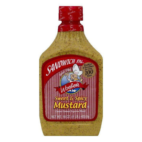 Woebers Sweet & Spicy Mustard, 16 OZ (Pack of 6)