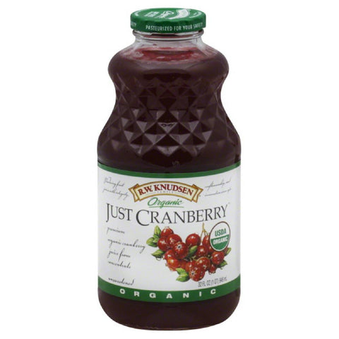 RW Knudsen Just Cranberry Organic Juice, 32 Fo (Pack of 6)