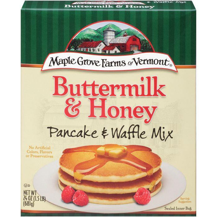 Maple Grove Farms of Vermont Buttermilk & Honey Pancake & Waffle Mix 24 Oz (Pack of 6)