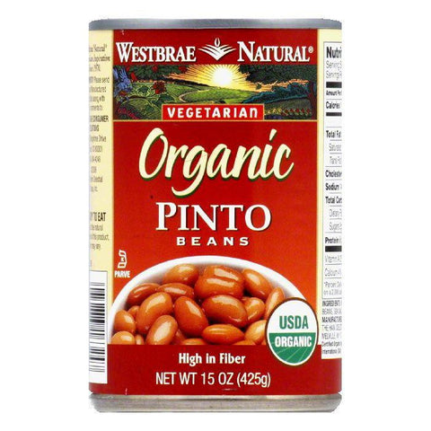 Westbrae Beans Pinto Fat Free Organic, 15 OZ (Pack of 12)