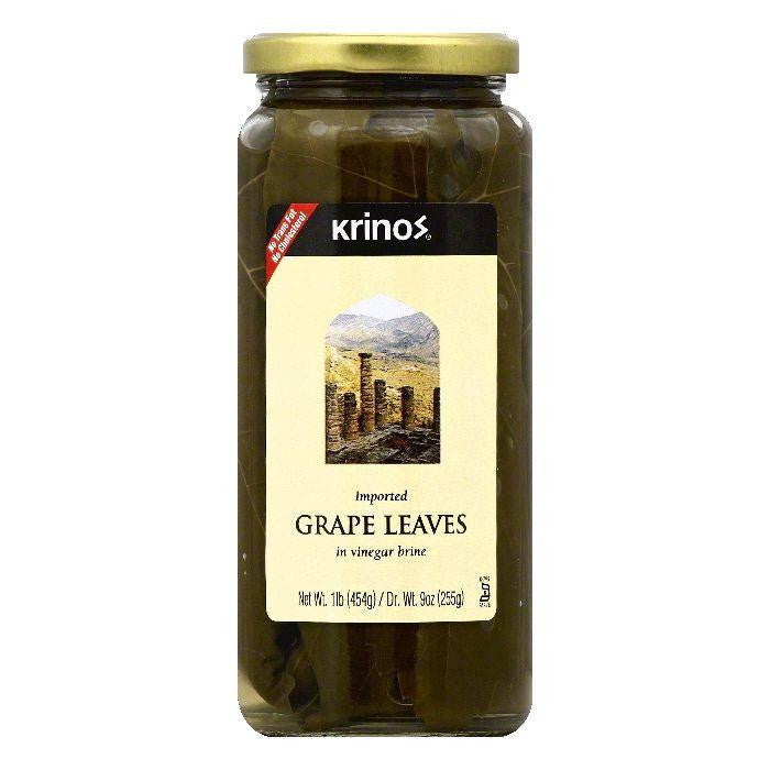 Krinos in Vinegar Brine Grape Leaves, 1 lb (Pack of 6)
