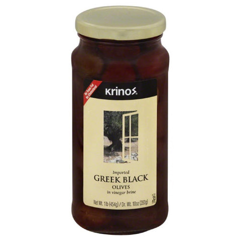 Krinos Black Greek Olives in Vinegar Brine, 16 Oz (Pack of 6)