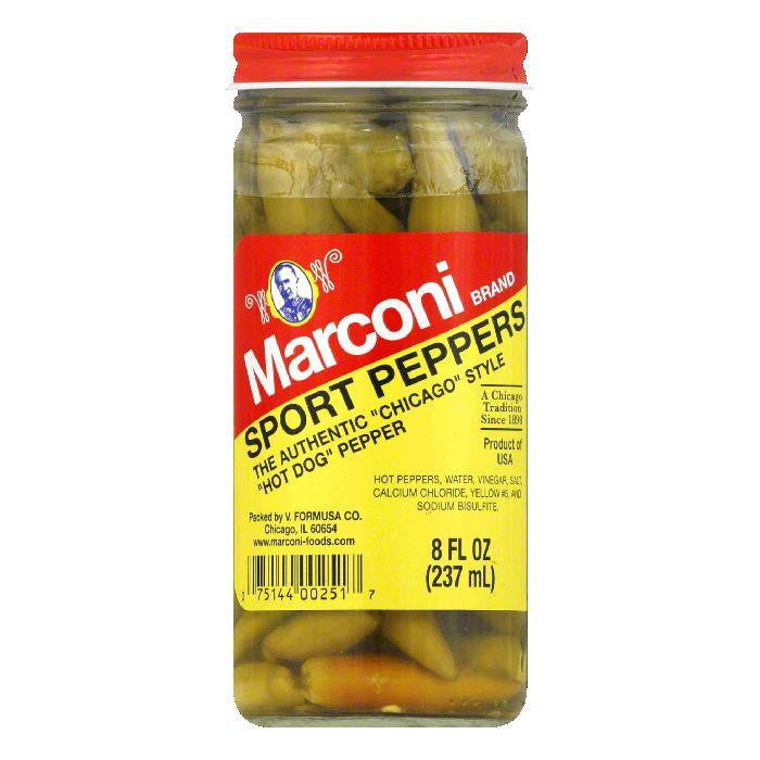 Marconi Whole in Vinegar Sport Peppers, 8 OZ (Pack of 6)