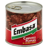 Embasa Chipotle Peppers in Adobo Sauce, 12 Oz (Pack of 12)
