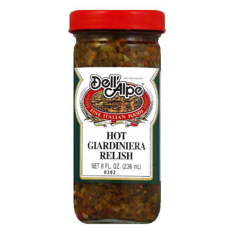 Dell' Alpe Hot Giardiniera Relish, 8 OZ (Pack of 12)