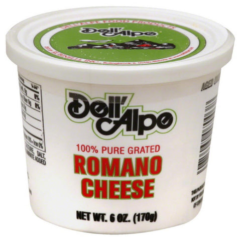 Dell Alpe Romano Grated Cheese, 6 Oz (Pack of 12)