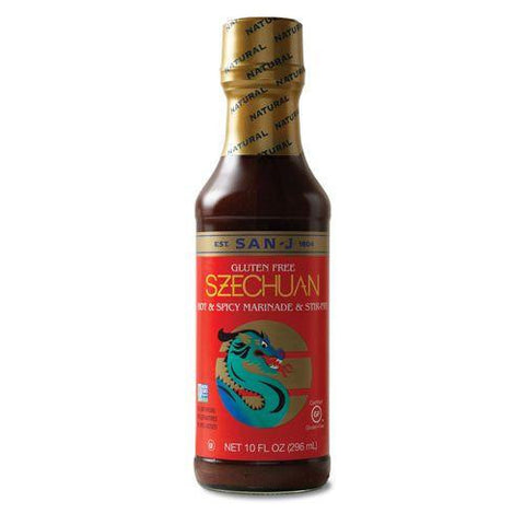 San J Sauce Hot & Spicy Szechuan, 10 OZ (Pack of 6)