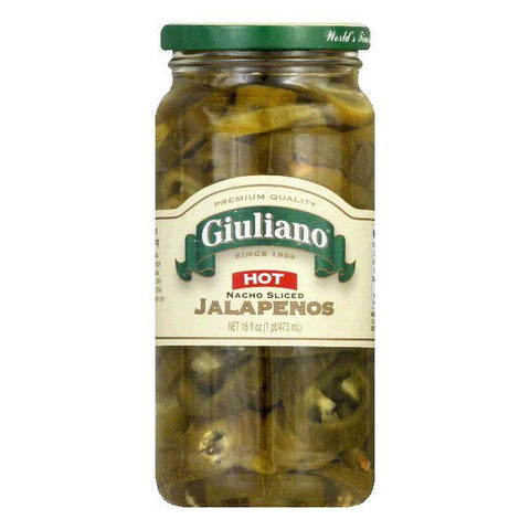 Giuliano Hot Jalapeno Sliced Nacho Peppers, 16 OZ (Pack of 6)