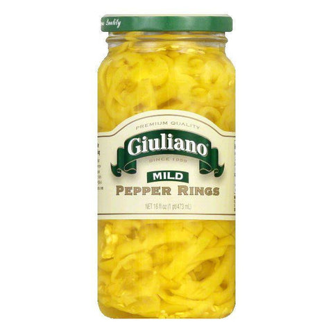 Giuliano Mild Banana Pepper Rings, 16 OZ (Pack of 6)